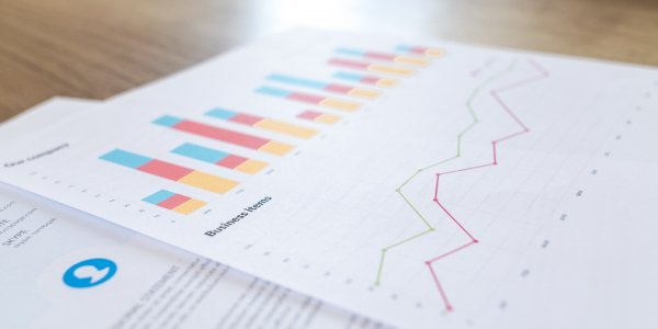 Piece of paper with stocks and financial reports