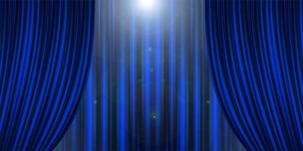 Blue theatre curtains opening - spotlight coming down