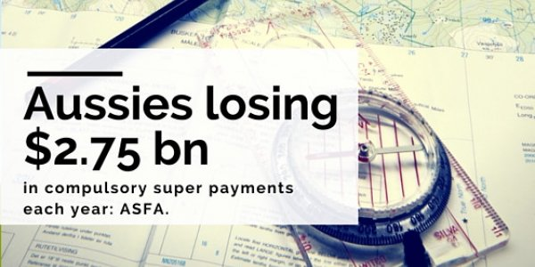 Aussies losing $2.75bn in compulsory super payments each year: ASFA