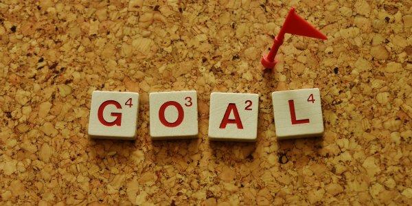 Goal written with a dart
