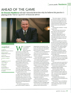 'Ahead of the Game' Maddern Financial Advisers featured in IFA magazine 'Practice Profile'